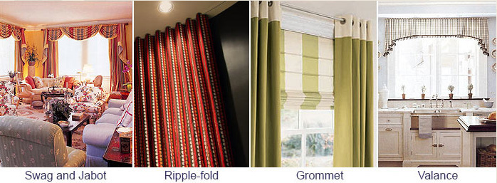 Swag and Jabot, Ripple-Fold, Grommet, Valance - Window Coverings