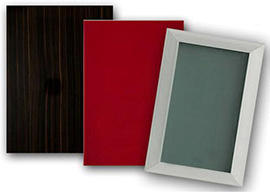 Door styles that feature exotic woods, high-gloss glass or acrylic, aluminium frames, simple lines.
