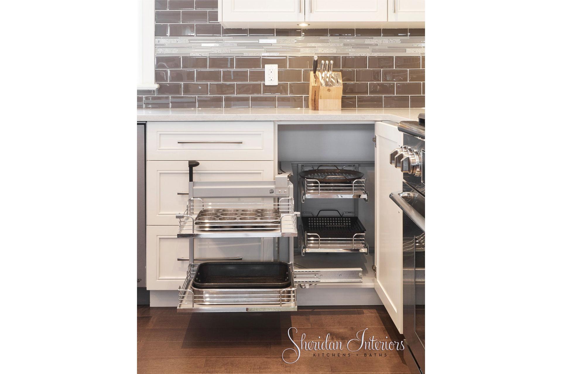 Contemporary Kitchen with Corner Cabinet - Sheridan Interiors