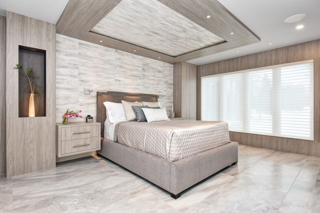 Contemporary Master Bedroom with large porcelain floor tile and custom cabinetry, Sheridan Interiors