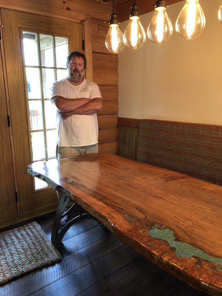 Live edge white oak industrial dining table, Sheridan Interiors Cornwall, Ottawa