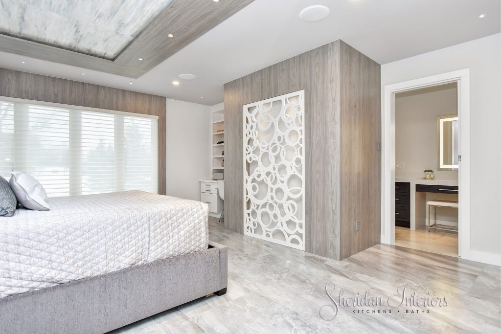 Contemporary Master Bedroom with laser cut panel feature wall, Sheridan Interiors, interior designer cornwall, interior designer ottwawa