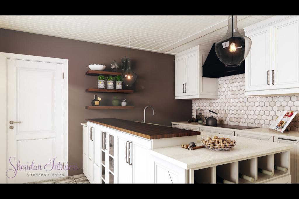 White kitchen with island peninsula and black rangehood, sheridan interiors cornwall, interior designer cornwall, interior designer ottawa, kitchen designer cornwall