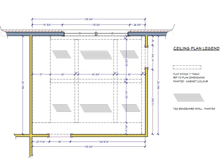 ceiling plan for panelling and moulding details, ceiling paneling in kitchen, project documents, sheridan interiors, interior designer cornwall, interior designer ottawa, lancaster ontario