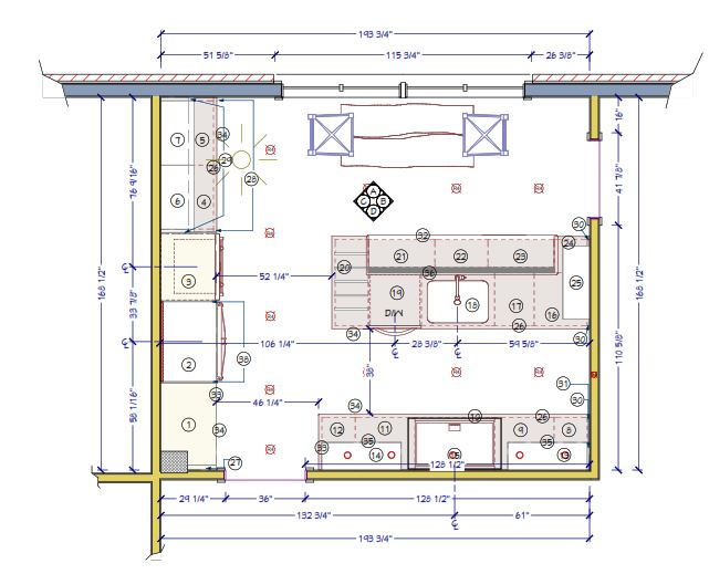 A new layout for a kitchen design, showing placement of cabinetry, fixtures and appliances, Sheridan interiors, interior designer cornwall, interior designer ottawa, project documents, lancaster ontario project