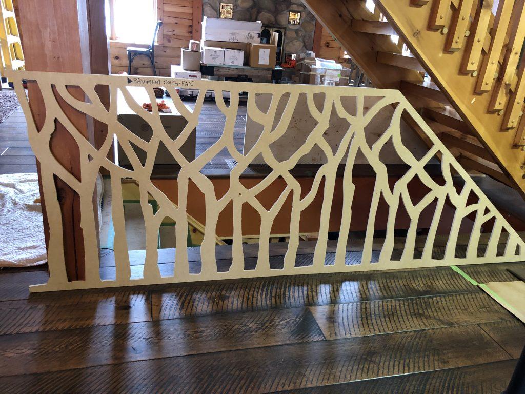 log cabin stair railing in progress, sheridan interiors, cornwall, ottawa