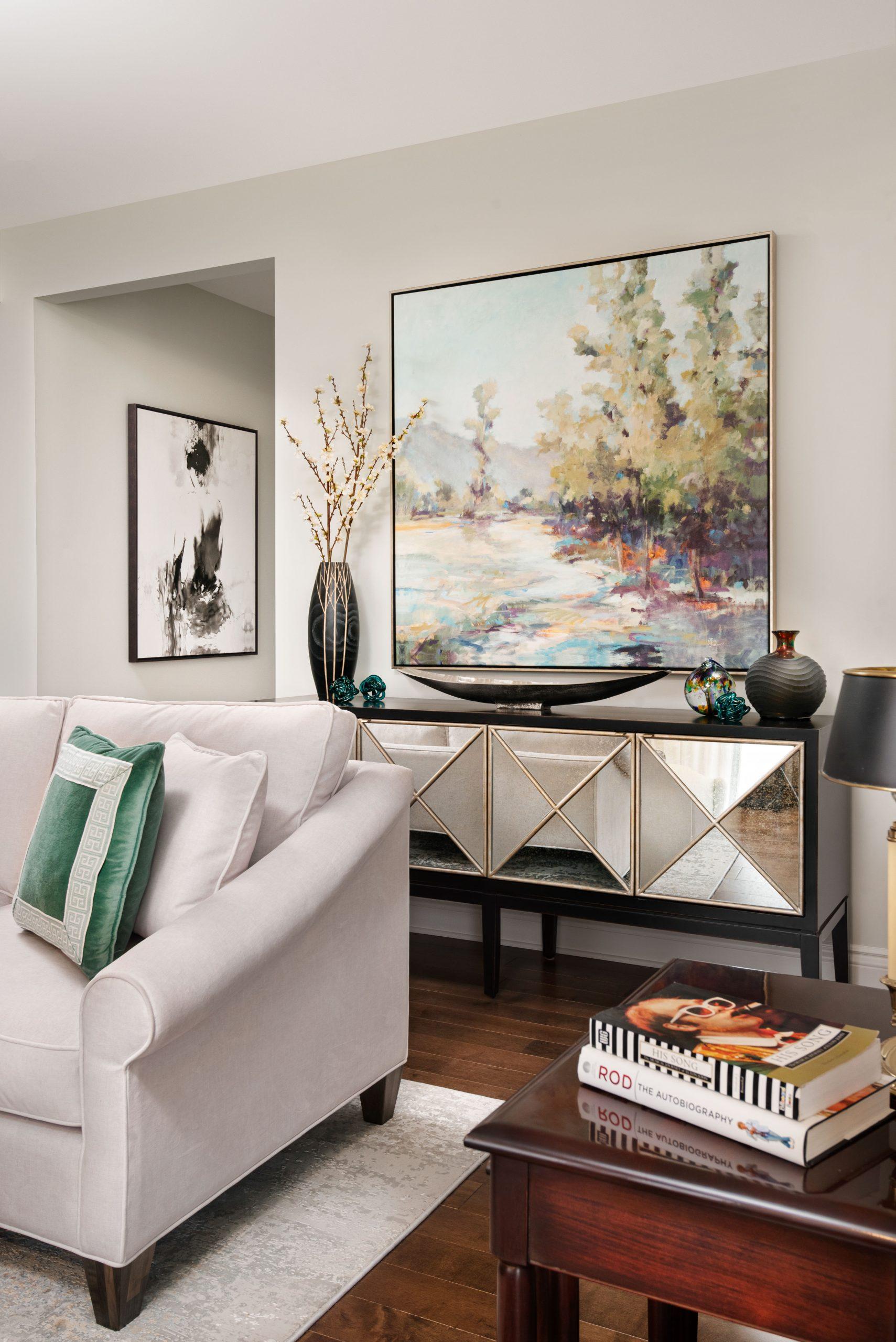 transitional living room sideboard, contemporary art, mirrored sideboard, sheridan interiors, interior designer cornwall, interior designer ottawa, sheridan interiors inc.